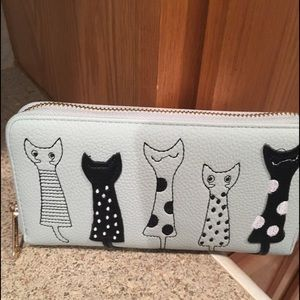 Handbags - Cat wallet in grey faux leather. Zip around style